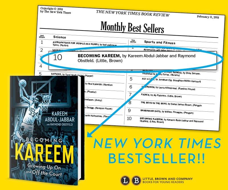 Congratulations kareem! becoming kareem lands a spot on the new york times best sellers list!