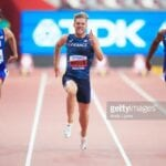 DOHA, QATAR - OCTOBER 02: (L-R) Harrison Williams of the United States, Kevin Mayer of France and Solomon Simmons of the United States compete in the Men's Decathlon 100 metres heats during day six of 17th IAAF World Athletics Championships Doha 2019 at Khalifa International Stadium on October 02, 2019 in Doha, Qatar. (Photo by Andy Lyons/Getty Images for IAAF)