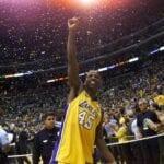 A.C. Green celebrates his fourth NBA Championship