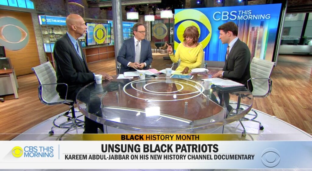 "Kareem abdul-jabbar on ""cbs this morning"" discussing ""black patriots"" documentary"